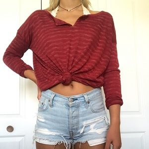 Very soft maroon striped shirt